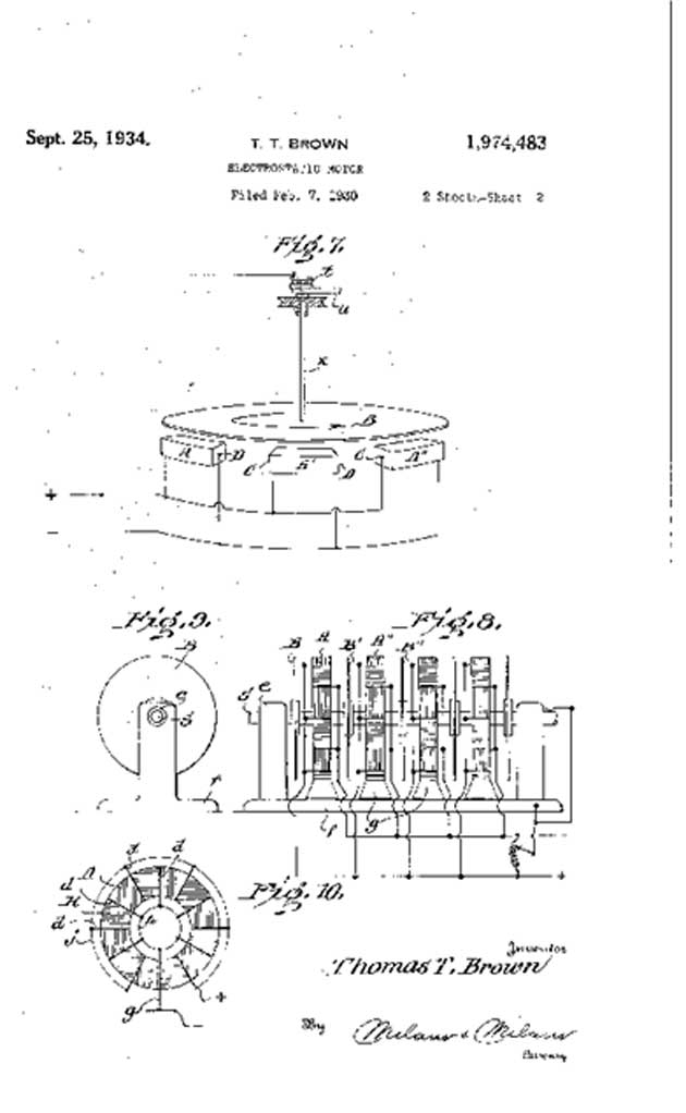A motor based on EAD patented by Thomas Townsend Brown in the 1930s. (Source: USPTO)