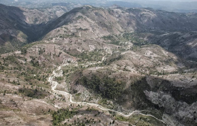 A new study shows that less than one per cent of the primary forest in Haiti remains, as illustrated by deforested hills in the Massif de la Hotte. Many endemic species, especially amphibians and reptiles, have been wiped out along with the trees. (Source: Eladio Fernandez Caribbean Conservation Photography)