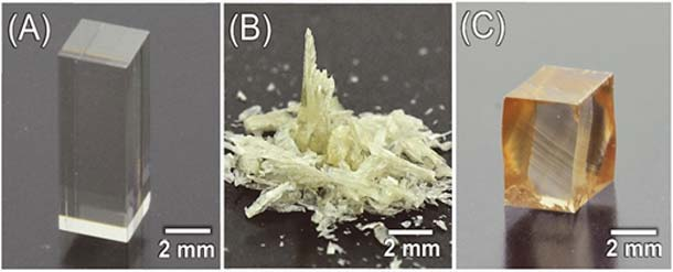 A shows zinc sulfide (ZnS) crystals, B is mechanical fracture of the crystals under ordinary light, and C shows ZnS in darkness that displays plasticity. (Source: Atsutomo Nakamura)