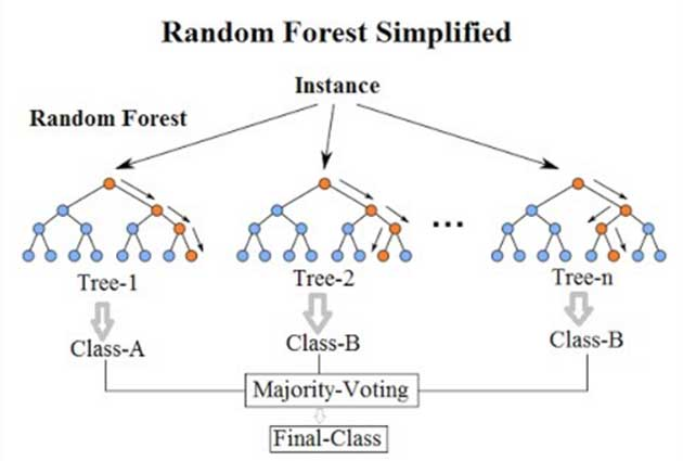 A simplified example of a random forest algorithm. (Source: Venkata Jagannath @ Wikimedia Commons)