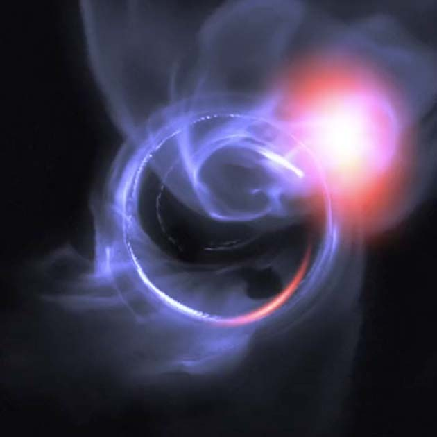 A visual simulation created by ESO, based on the data collected by GRAVITY, of the gas clouds and flares. (Source: Gfycat)