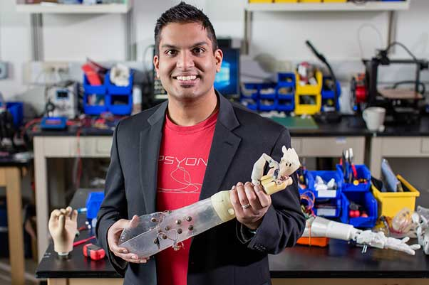 Lead investigator, Aadeel Akhtar, developed, along with a team of researchers at Illinois, an algorithm for sensory feedback in people with prosthetic arms. (Source: University of Illinois)
