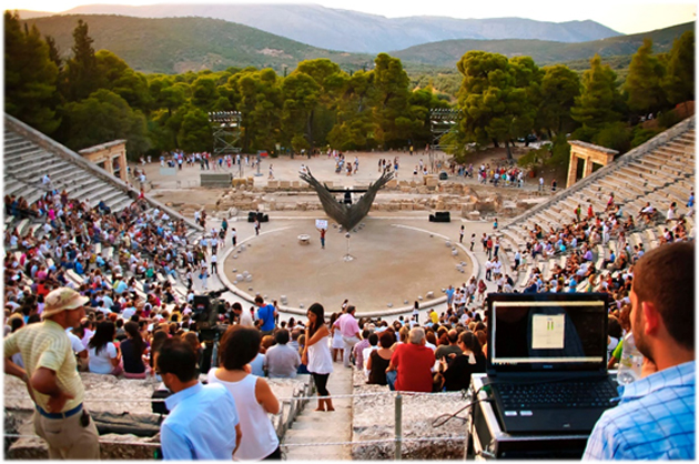Figure 3: Acoustic measurements at the Epidaurus theater during a recent drama play [10].