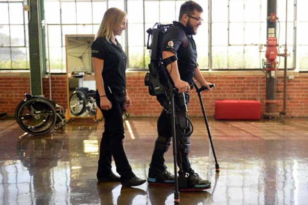 Advanced robotic exoskeletons for patients with spinal cord injury or paralysis. (Source: Alamy/The Guardian)
