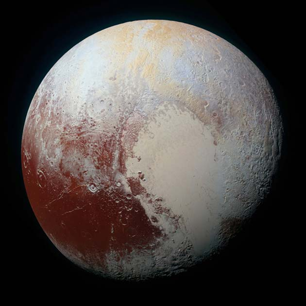 An image of Pluto captured by New Horizons during its fly-by of this celestial dwarf. (Source: NASA/Johns Hopkins University Applied Physics Laboratory/Southwest Research Institute)