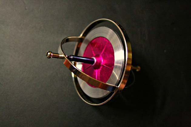 An old-fashioned, simple metal gyroscope. (Source: Wikimedia Commons)