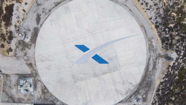 An overhead view of SpaceX's newest rocket landing site, Landing Zone 4, near its West Coast launch pad at Vandenberg Air Force Base in California. (Source: SpaceX)