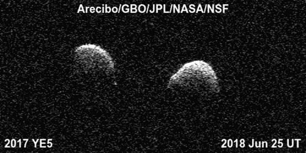 Bi-static radar images of 2017 YE5 by Arecibo, GSSR and Green Bank on June25, 2018. (Source: NASA Science)