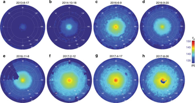 Brightness maps track the formation of the SNPV, showing its distinctive shape, from 2013 to 2017. Dark blue areas indicate missing data. (Source: L. N. Fletcher et al, 2018)