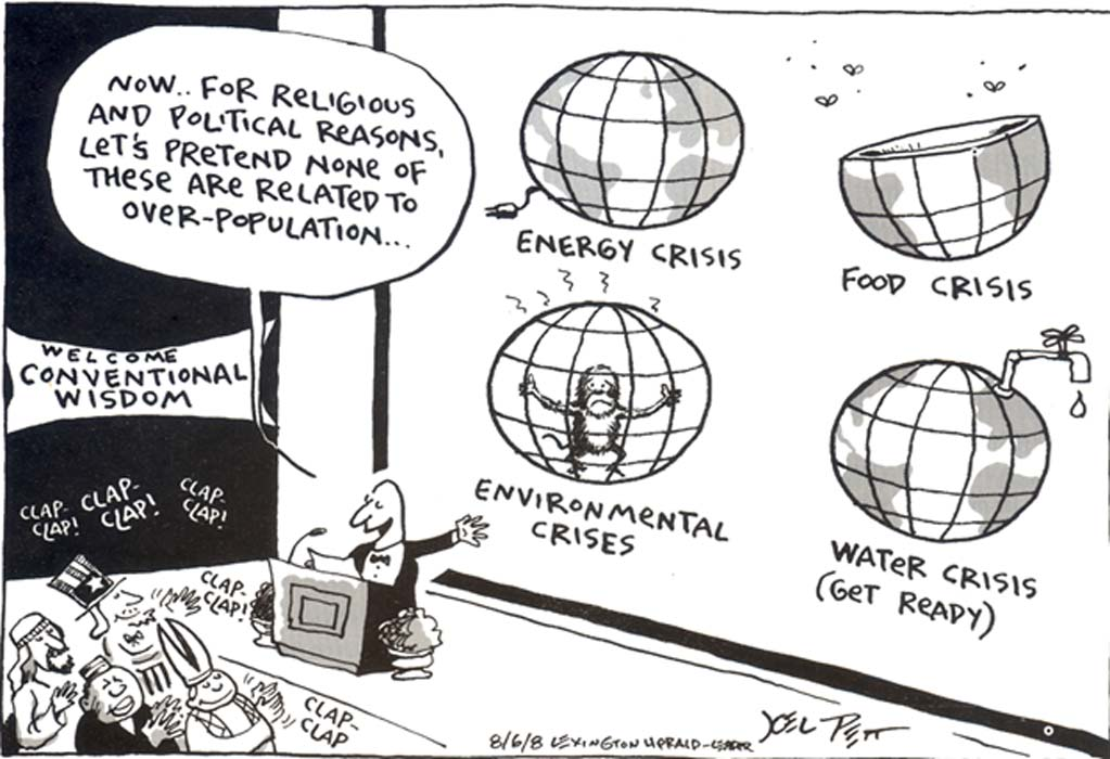 A cartoon in relation to the Earth's carrying capacity. (Source: Population Connected, Reprinted from The Reporter in 2009)
