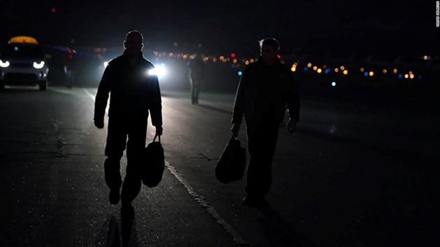 """Mark """"Forger"""" Stucky and Rick """"CJ"""" Sturckow arrived at the flight line before Thursday's test. (Source: CNN)"""