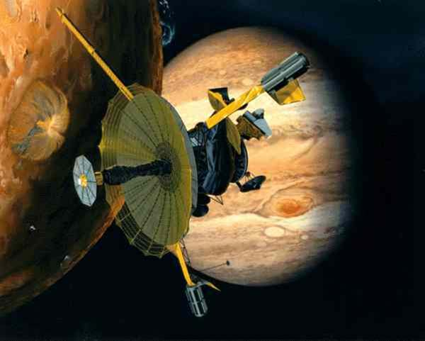 Galileo was the first spacecraft that orbited Jupiter. (Source: Aerospaceguide.net)