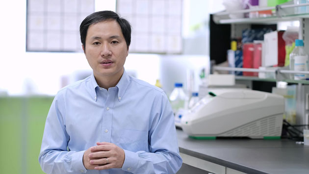 He Jiankui in a still from his now-infamous YouTube video. (Source: Wikimedia Commons)
