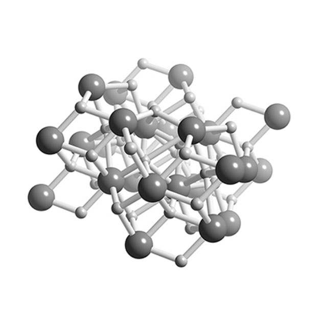 Hydrides are tightly-packed, dense matrices, typically, of metallic elements and hydrogen atoms. (Source: Wikimedia Commons)