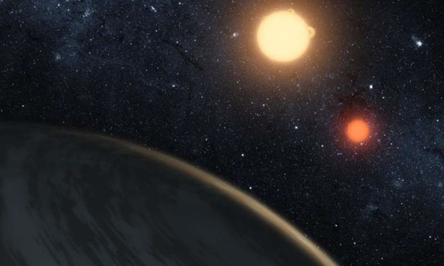 Impression of Kepler-16b, the first circumbinary planet, discovered by NASA. (Source: T. Pyle, NASA, JPL-Caltech)