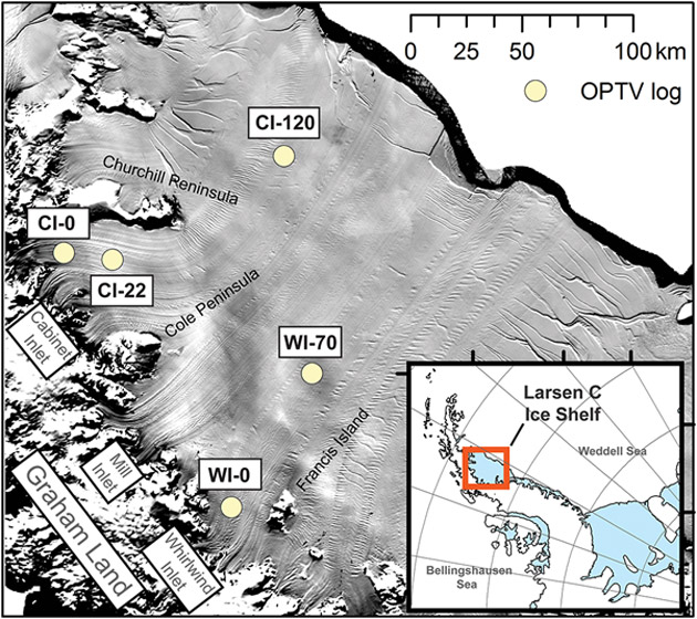 "Location map of LCIS showing the sites of the OPTV borehole logs reported herein overlain on 2009 MODIS ""MOA"" image."