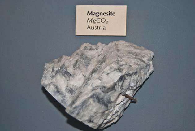 Magnesite is a carbonate of magnesium. (Source: Public Domain)