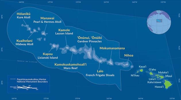 Map of Hawaii showing the PMNM. (Source: Public Domain)