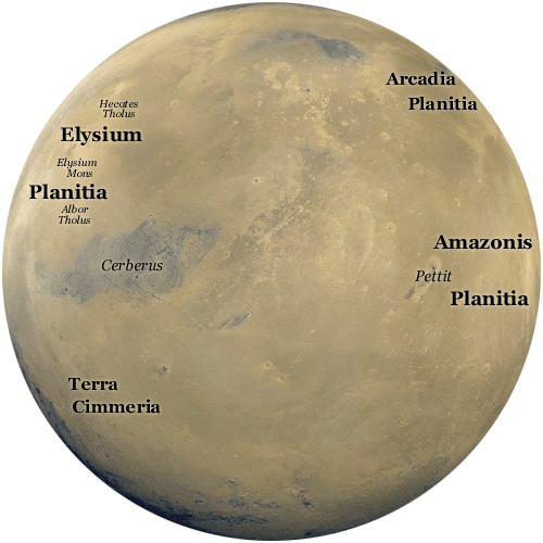 A Martian map showing the location of Elysium Planitia. (Source: Public Domain)