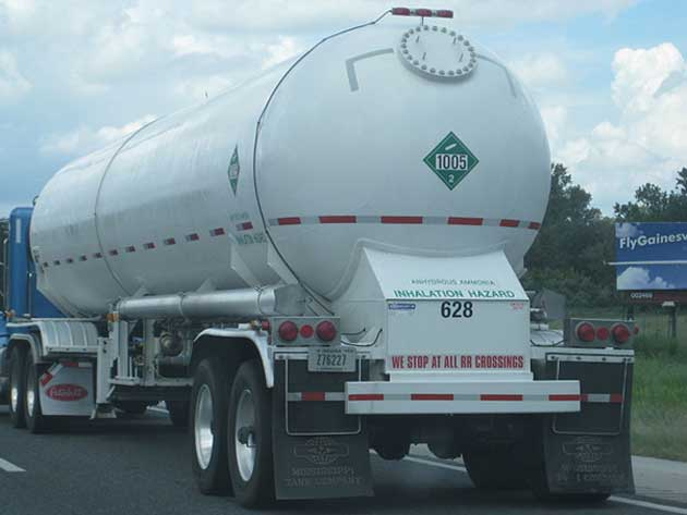 NH3 can be stored and shipped in tanks like these. (Image Source: Public Domain)