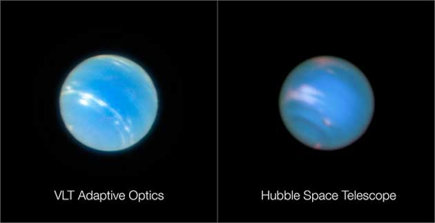 Neptune imaged using the VLT (left) and Hubble (right). (Source: ESO)
