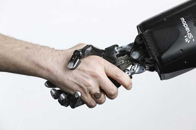 Robotic hand, Shadow Dexterous, and the human hand