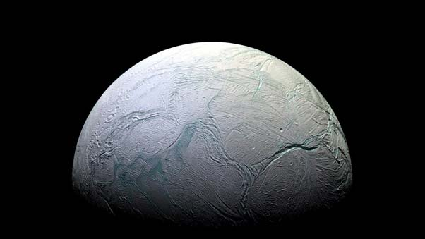 This view of Saturn's moon Enceladus was taken by NASA's Cassini spacecraft. On October 28, 2015, Cassini will make its closest pass directly through the plume jetting out of the moon's south pole. Image credit: NASA/JPL-Caltech