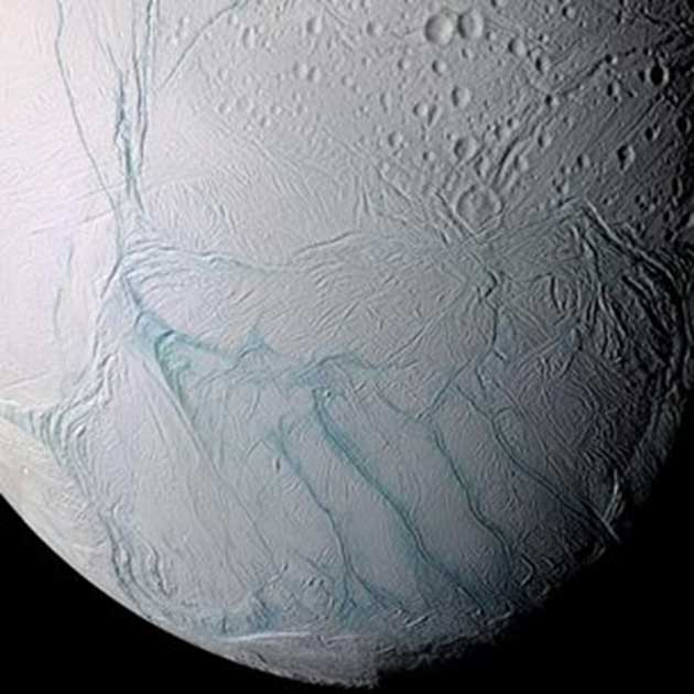 High-resolution view of Saturn's moon, Enceladus, with visible 'tiger stripes'. (Source: NASA/JPL/Space Science Institute)