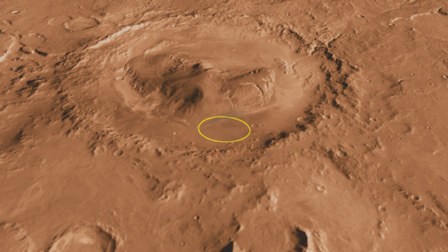 The circle in the image depicts the landing site of Curiosity on Gale Crater. (Source: NASA/JPL-Caltech/ASU/UA)