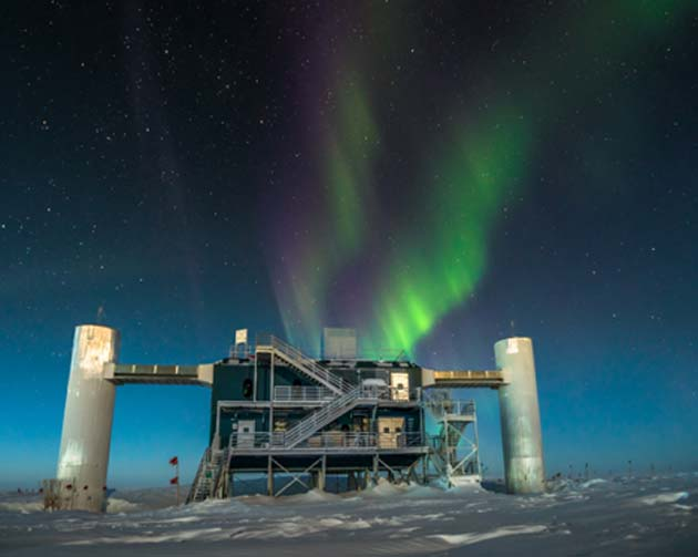 The surface facility for the IceCube experiment, which is located under nearly 1 mile (1.6 km) of ice in Antarctica. (Source: IceCube Neutrino Observatory)