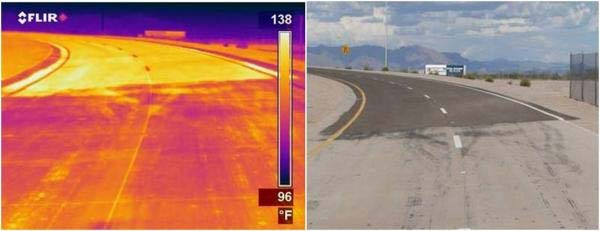 Thermal infrared (left) and visible (right) images of a road with light and dark segments. The infrared image shows that the light segment (bottom) is about 17°C (30°F) cooler than the dark segment (top). (Image courtesy of Larry Scofield, APCA)