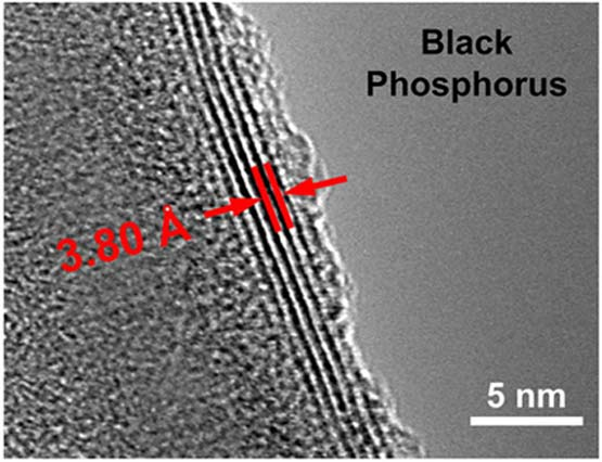 Transmission electron microscope image showing the ultrathin layers of black phosphorus used in the energy harvesting device An angstrom (Å) is about the width of a single atom and is one tenth of a nanometer (nm).