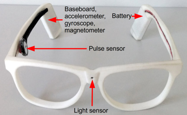 WISEglass prototype: Baseboard, battery, accelerometer, gyroscope, and magnetometer are mounted on the outside of the eyeglasses' temple. The pulse sensor is mounted on the inside of a temple. The light sensor is integrated into the bridge.