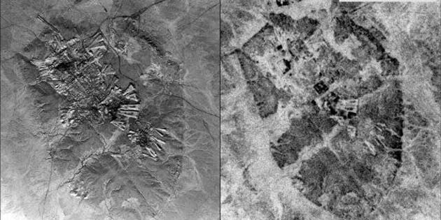 Left: A U2 image of Ur (Tell al-Muqayyar), Iraq, captured on Oct. 30, 1959. Right: a CORONA satellite image of the same site captured on May 4, 1968. (Source: Emily Hammer and Jason Ur)