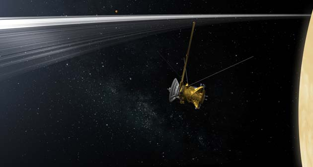 "With help from the public, members of NASA's Cassini mission have chosen to call the spacecraft's final orbits the ""Cassini Grand Finale."" Image credit: NASA/JPL-Caltech"