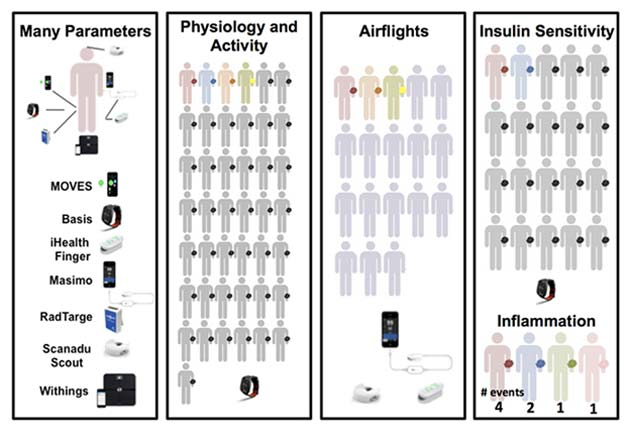 Wearable devices used in this study. The colors for different human figures indicate the specific studies in which each person participated. Red figures represent participation in all five studies; grey figures represent participation in the activity and insulin studies; blue, the activity, insulin sensitivity, and inflammation studies; orange and yellow, activity and air flights; green and pink, inflammation; and purple, air flights. Credit: Li, et al.
