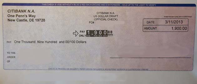 An example of a check used in a mail-based scam. (Source: Tomwsulcer/Wikimedia Commons)