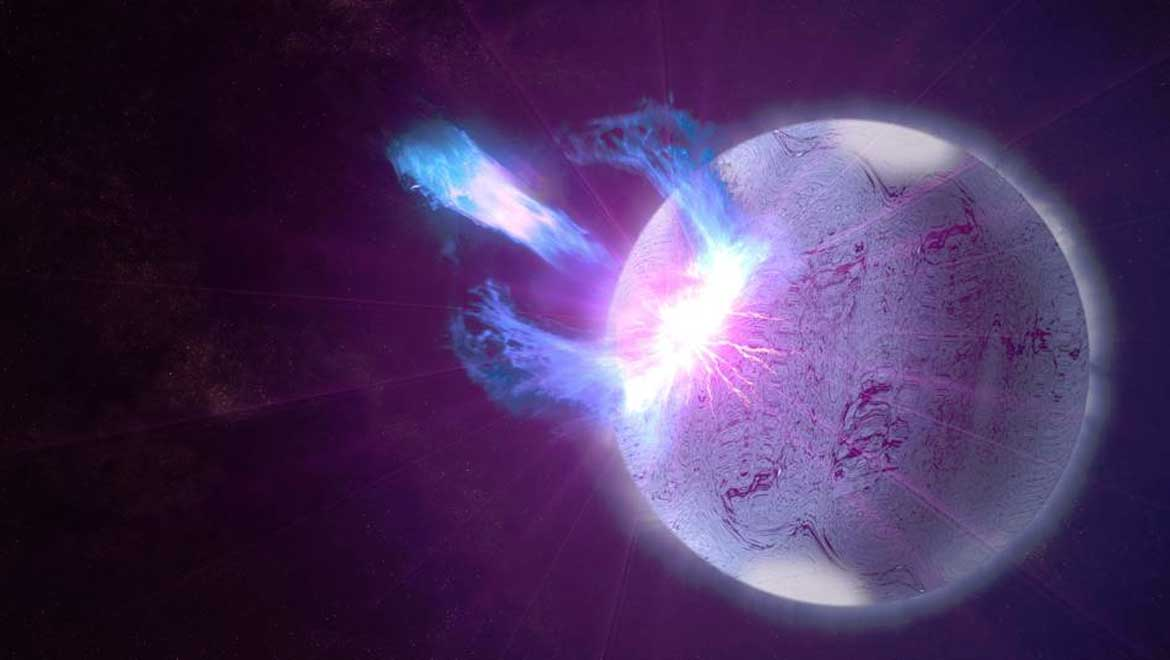 A rupture in the crust of a highly magnetized neutron star, shown here in an artist's rendering, can trigger high-energy eruptions. Fermi observations of these blasts include information on how the star's surface twists and vibrates, providing new insights into what lies beneath.