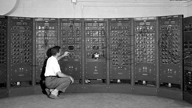 Analog computing machine at the Lewis Flight Propulsion Laboratory circa 1949.