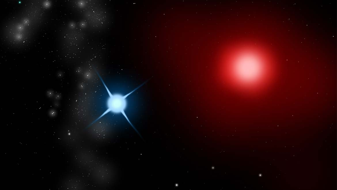 Antares A; an LC type variable red giant star, and Antares B, a class B2.5V blue main sequence star, make up a binary star system in the Scorpius constellation. (CC BY-SA 3.0)