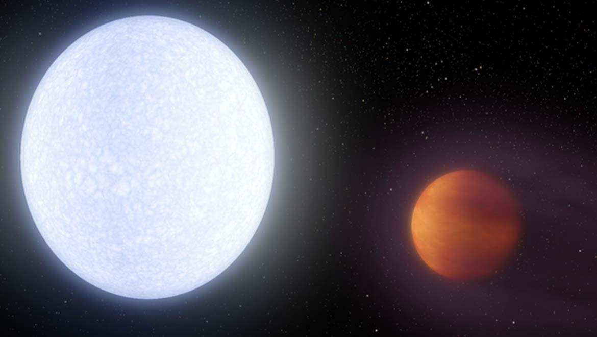 An artist's rendition of the KELT-9 system. (NASA/JPL-Caltech/R. Hurt)