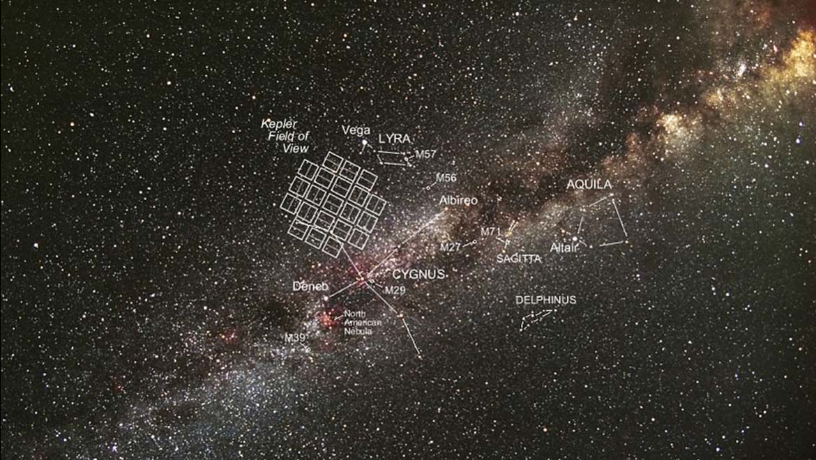 Kepler's own patch of the sky. (Carter Roberts / Eastbay Astronomical Society / NASA)