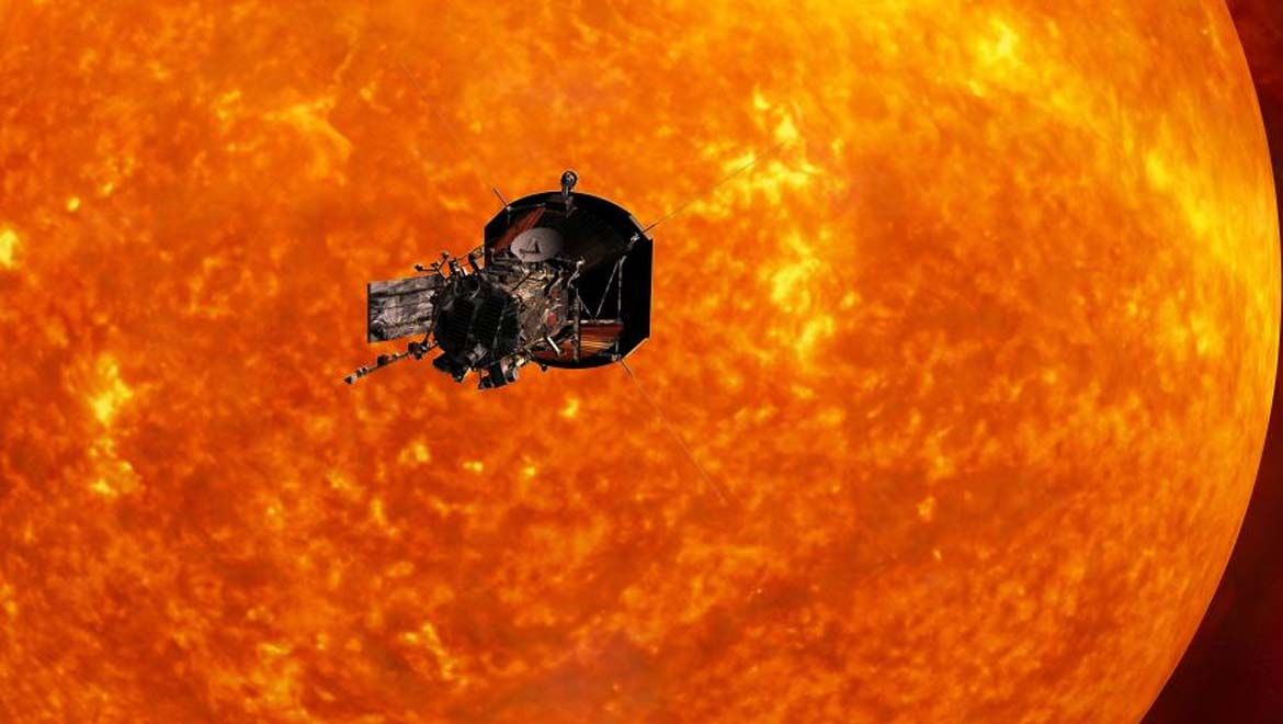 Artist's concept of the Parker Solar Probe approaching the sun. Launching in 2018, the landmark probe will orbit close to sun's surface, providing new data on solar activity and may help forecast major space-weather events that impact life on Earth. Illustration by Johns Hopkins University Applied Physics Laboratory