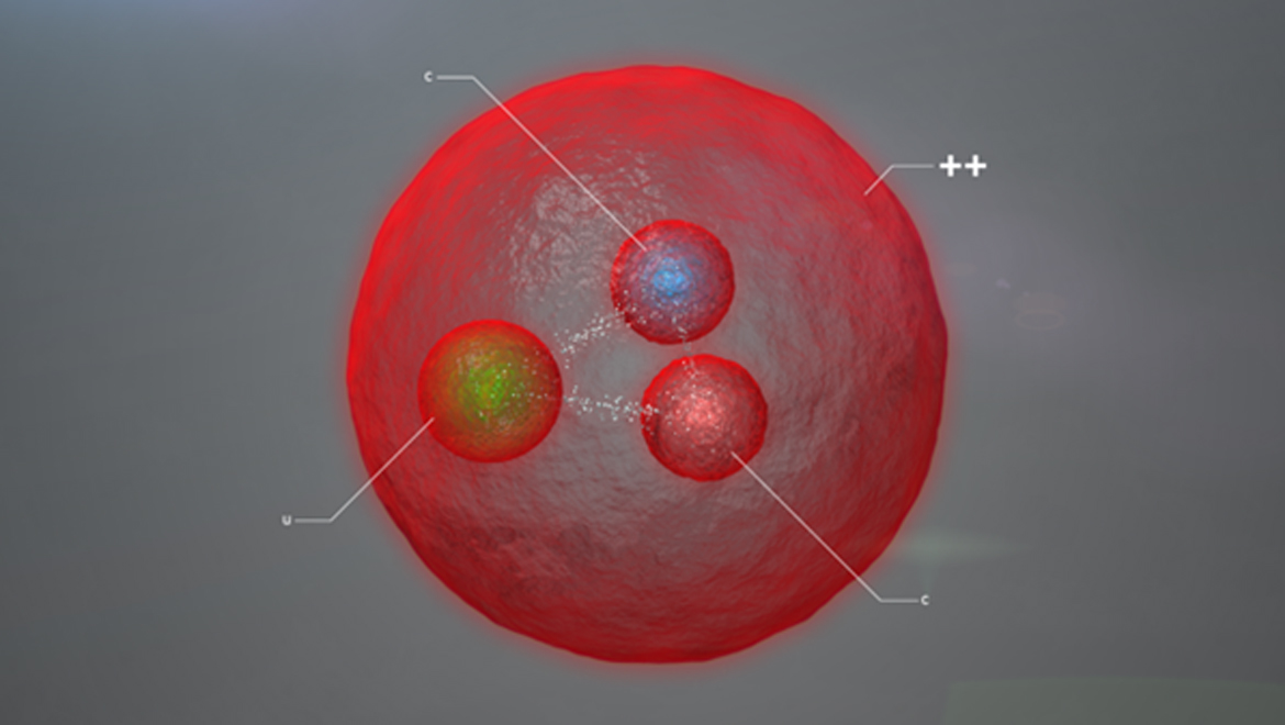 Image representing the new particle observed by LHCb, containing two charm quarks and one up quark. (Image: Daniel Dominguez/CERN)