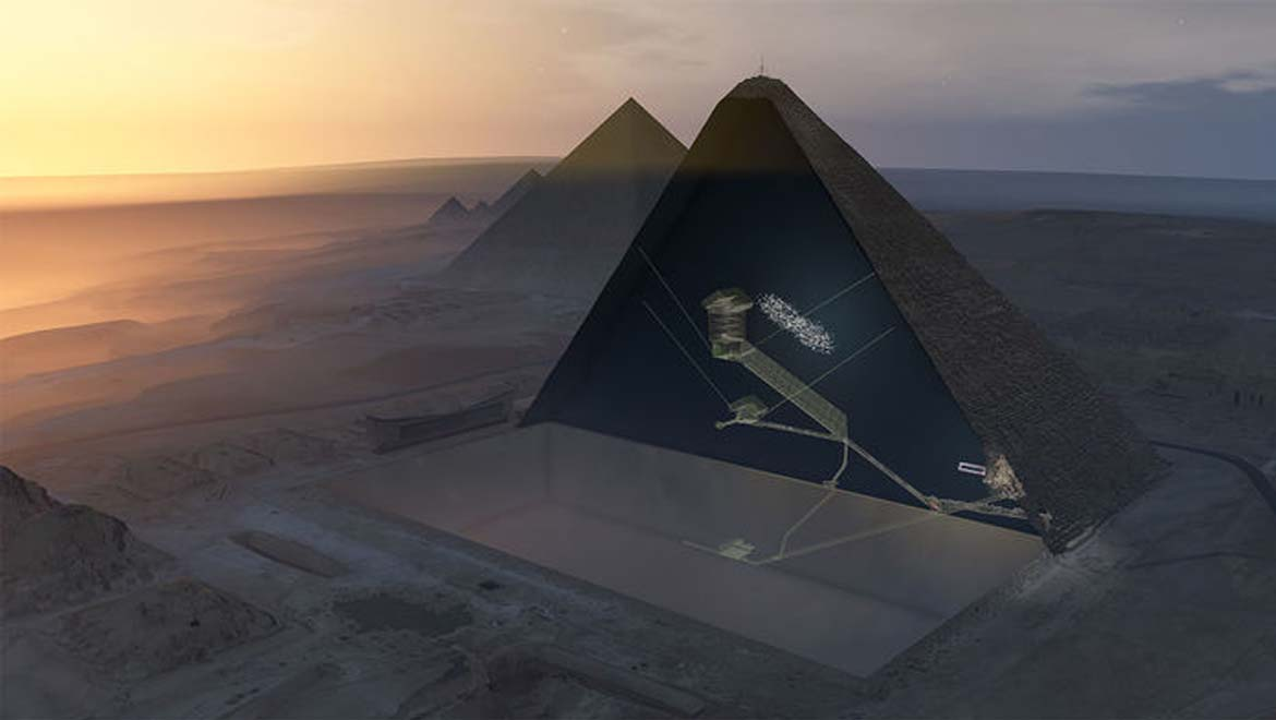 Artist's rendering of a cross-section of the Great Pyramid showing the newly discovered void (represented as a white area) above the large inclined corridor known as grand gallery. Credit: ScanPyramids mission
