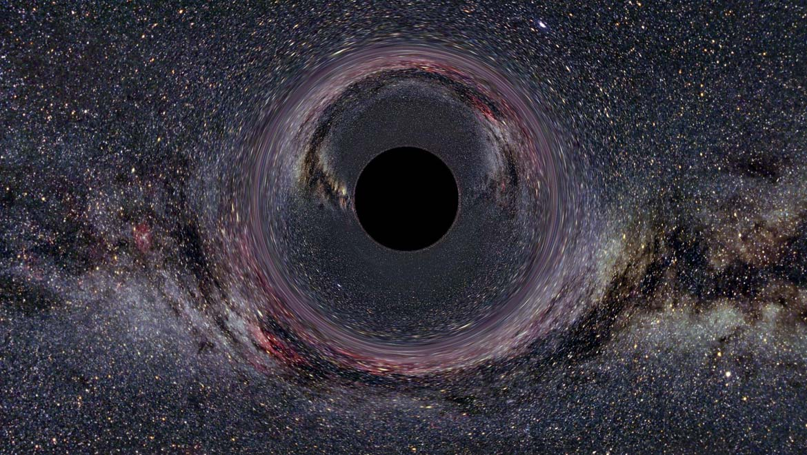 A simulated Black Hole of ten solar masses as seen from a distance of 600km with the Milky Way in the background