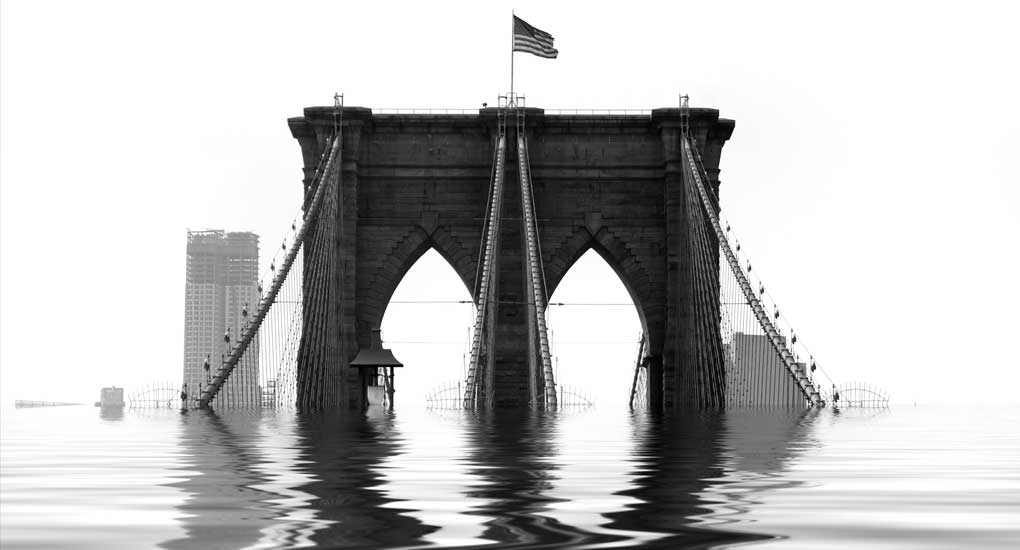 Conceptual illustration of the Brooklyn Bridge flooded with water due to natural disaster or global warming. Stock Image