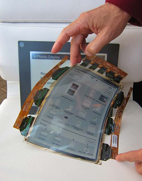 An example of a flexible display, created by Plastic Logic.