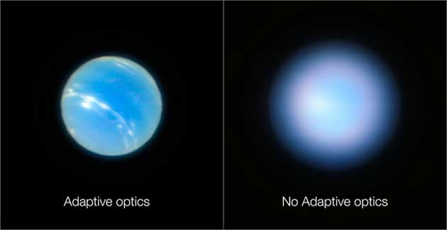 An image of Neptune with adaptive optics on (left) and optics off (right). (Source: ESO)