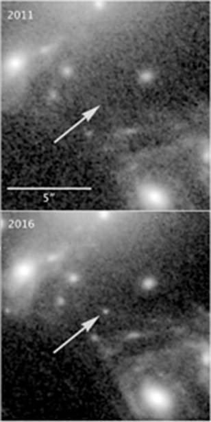 An image taken in 2011 failed to display LS1 in its location relative to MACS J1149 (arrows), whereas subsequent images from 2016 did. (Source: NASA/ESA/P. Kelly)